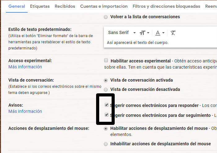 Avisos automaticos en gmail